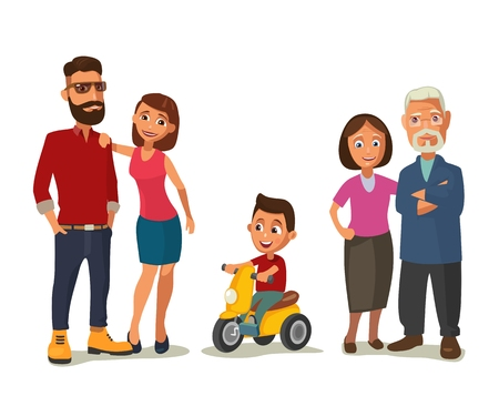 family man: Happy family. Parents, grandparents and child on a tricycle. Color flat vector illustration isolated on white background.
