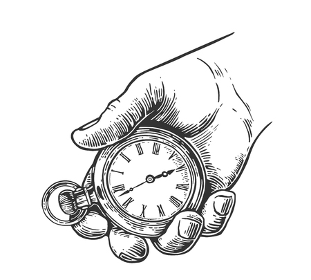 Male hand holding antique pocket watch. Vector vintage engraving illustration. Isolated on white background. Ilustração