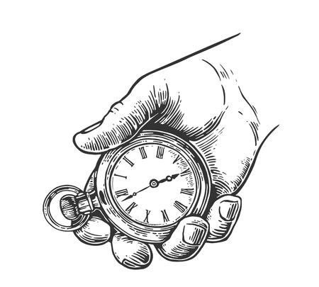 Mano masculina que sostiene el reloj de bolsillo antiguo. Vector ilustración de grabado de la vendimia. Aislado en el fondo blanco. Ilustración de vector