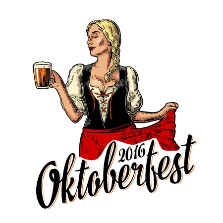 Poster to oktoberfest festival. Young sexy woman wearing a traditional Bavarian dress dirndl dancing and holding beer mug. Vintage color vector engraving illustration isolated on white background. Иллюстрация