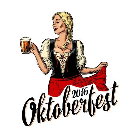 Poster voor oktoberfest festival. Jonge sexy vrouw die een traditionele Beierse kleding dirndl draagt die en dansmok houdt houdt. Vintage kleur vector gravure illustratie op een witte achtergrond.