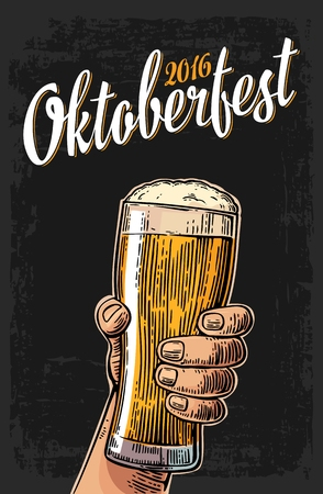 Male hand holding a beer glass. Vintage vector engraving illustration for web, poster, invitation to oktoberfest festival. Isolated on dark background Иллюстрация