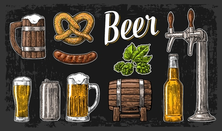 hogshead: Beer set with tap, class, can, bottle, barrel, sausage, pretzel and hop. Vintage vector engraving illustration for web, poster. Hand drawn design element isolated on dark background. Illustration