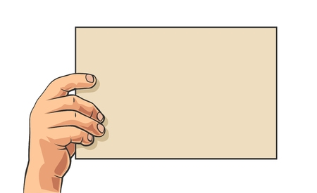 Male hand holding big blank paper. Vector abstract polygon color flat illustration isolated on white background