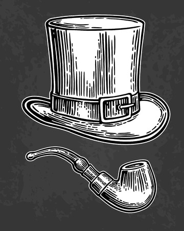 Top gentleman hat and smoking pipe. Vector vintage engraved black illustration isolated on black background.