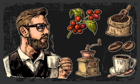 coffee sack: Set coffee. Hipster barista holding a cup, sack with wooden scoop and beans, cup, branch with leaf and berry. Vintage color vector engraving illustration. Isolated on dark background. Illustration