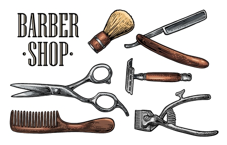 hair cutting: Set tool for BarberShop with comb, razor, shaving brush, scissors, bottle spray and hair cutting machine. Vector drawn vintage engraving for logotype, poster, banner. Isolated on dark background