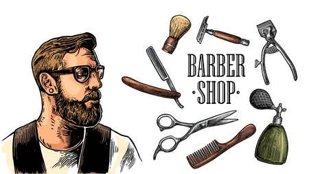 Head hipster and equipment for BarberShop with comb, razor, shaving brush, scissors and bottle spray. Vector color hand drawn vintage engraving for poster, label, banner, web. Isolated on white background