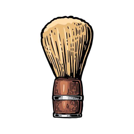 Shaving brush. Vector color illustrations on white backgrounds. Hand drawn vintage engraving for poster, label, banner, web