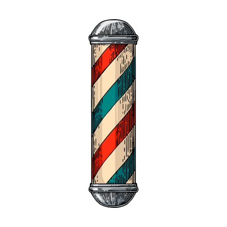 Classic barber shop Pole. Vector color vintage illustrations isolated on white backgrounds. Hand drawn engraving for poster, label, banner, web. Çizim