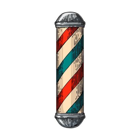 Klassische Friseurladen Pole. Vector Farbe Jahrgang auf weißem Hintergrund isoliert Abbildungen. Hand gezeichnet Gravur für Poster, Aufkleber, Banner, Web. Vektorgrafik