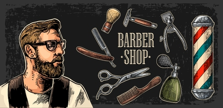 Head hipster and equipment for BarberShop with comb, razor, shaving brush, pole, scissors and bottle spray. Vector hand drawn vintage engraving for poster, label, web. Isolated on dark background 일러스트