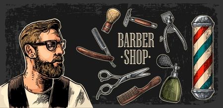 Hoofd hipster en apparatuur voor Barbershop met kam, scheermes, scheerkwast, pool, een schaar en een fles spray. Vector hand getrokken vintage graveren voor poster, label, web. Geïsoleerd op donkere achtergrond