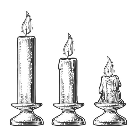 Set burning candles with holder and fire flame. Isolated on white background. Vintage vector engraving illustration for celebration, poster, web.