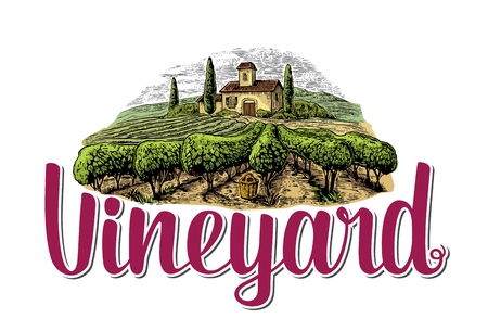 tuscan: Rural landscape with villa, vineyard fields and hills. Colorful white drawn vintage vector illustration for label, poster.