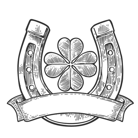 Good luck four leaf clover and horseshoe with ribbon. Vintage vector engraving illustration for info graphic, poster, web. Black on white background.