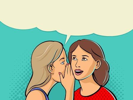 Woman whispering a secret into the ear of her girlfriend. Vector color flat illustration isolated on cyan background