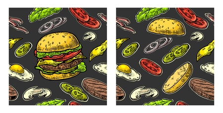 cucumber salad: Seamless pattern burger and ingredients include cutlet, tomato, cucumber and salad. Vector vintage engraving illustration for poster, menu, web, banner, info graphic. Isolated on black background.