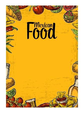 Mexicaanse traditionele food restaurant menu sjabloon met traditionele pittig gerecht. burrito, taco's, chili, tomaat, nacho's, tequila, kalk. Vector vintage gegraveerde illustratie geïsoleerd op gele achtergrond.