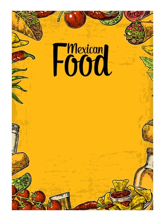 Mexican traditional food restaurant menu template with traditional spicy dish. burrito, tacos, chili, tomato, nachos, tequila, lime. Vector vintage engraved illustration Isolated on yellow background. Иллюстрация