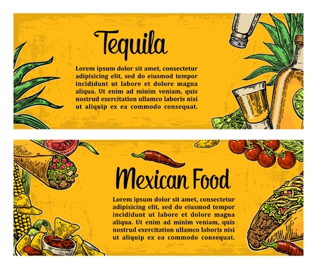 mexican background: Mexican traditional food restaurant menu template with traditional spicy dish. burrito, tacos, tomato, nachos, tequila, lime. Vector vintage engraved illustration on yellow background. For poster, web