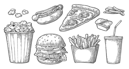 Set fast food. Glass of cola, hamburger, pizza, hotdog, fries potato in paper box, carton bucket full popcorn and ketchup. Isolated on white background. Vector vintage engraving illustration for menu Ilustrace