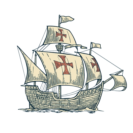 caravel: Sailing ship floating on the sea waves. Caravel Santa Maria. Hand drawn design element. Vintage vector engraving illustration for poster Day Columbus . Isolated on blue background. Illustration