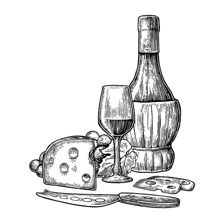 Cheese and wine set. Bottle, glass, bunch of grapes and knife. Black vintage engraved vector illustration isolated on white background. For label poster, menu, label, web.