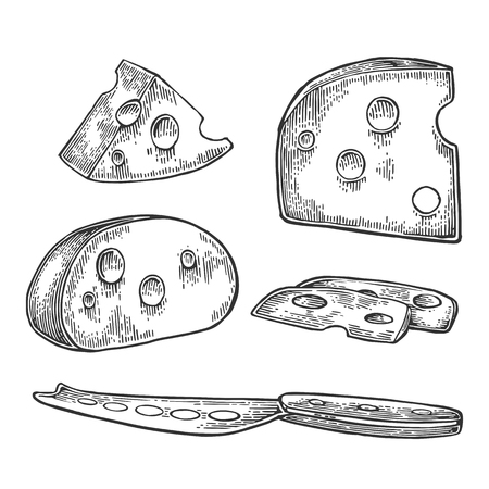 Pieces of Cheese and knife. Black vintage engraved vector illustration isolated on white background. For label poster, menu, label, web. Illustration