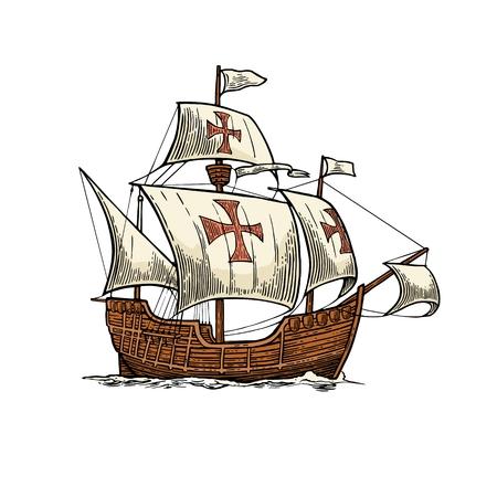 Barco de vela flotando en las olas del mar. Carabela Santa María. Dibujado a mano elemento de diseño. ilustración de la vendimia grabado de color del vector para el cartel del Día de la Raza. Aislado en el fondo blanco.