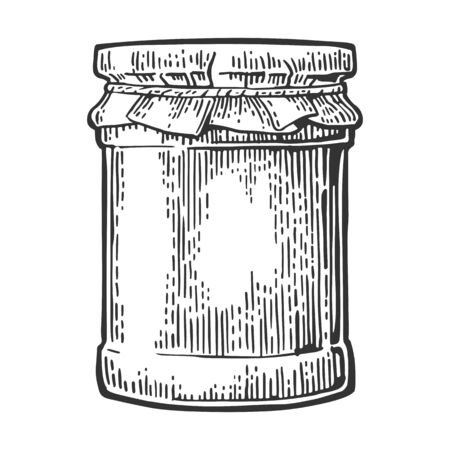 glass jar: Glass Jar with jam. Vector vintage engraved illustration. Hand drawn sketch isolated on white background.