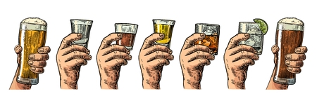 gin: Male hand holding a glass with beer, tequila, vodka, rum, whiskey, gin. Vintage color vector engraving illustration for label, poster, invitation to party and birthday.