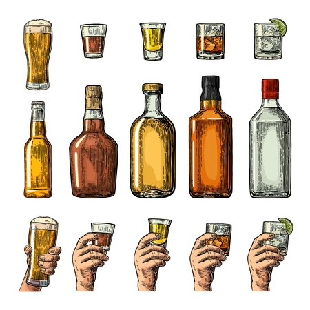 Set alcohol drinks with bottle, glass and hand holding beer, gin, whiskey, tequila. Vintage color vector engraving illustration for label, poster, invitation to party. Isolated on white background Ilustração