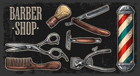 cutting hair: Set tool for BarberShop with comb, razor, shaving brush, pole, scissors, bottle spray and hair cutting machine. Vector drawn vintage engraving for poster, banner. Isolated on dark background Illustration