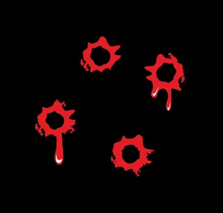Bullet holes with blood splatters. Flat vector illustration on black background.