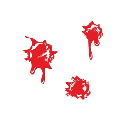 gunshot: Bullet holes with blood splatters. Flat vector illustration on white background.