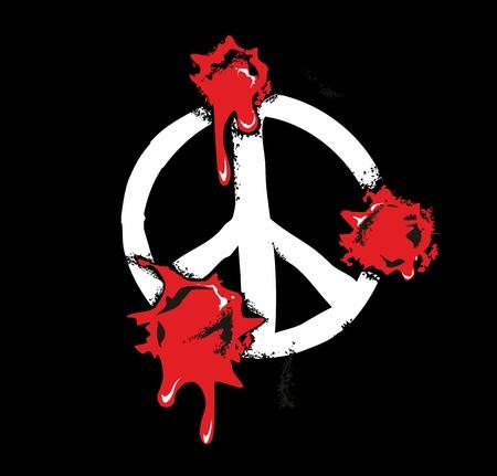 gunshot: Bullet holes with blood splatters on peace sign. Flat vector illustration on black background. Illustration