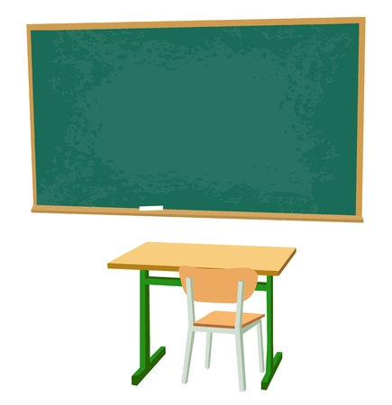 chipboard: School desk, chipboard and a chair. Vector flat color illustration isolated on white background.