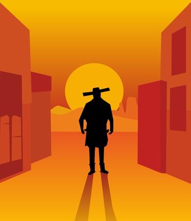 gunslinger: Wild west gunslinger. Background the city and the desert.