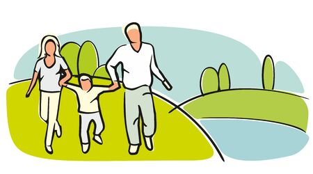grassy field: Family silhouettes on grassy field on a cloudless summer day. Flat vector color illustration.