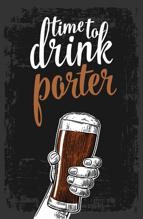 porter: Male hand holding a beer glass with porter. Vintage vector engraving illustration for web, poster, invitation to party. Isolated on dark background