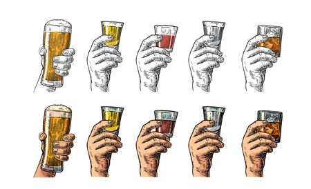 alcoholic drink: Male hand holding a glasses with beer, tequila, vodka, rum, whiskey. Vintage color vector engraving illustration for label, poster, invitation to party and birthday.