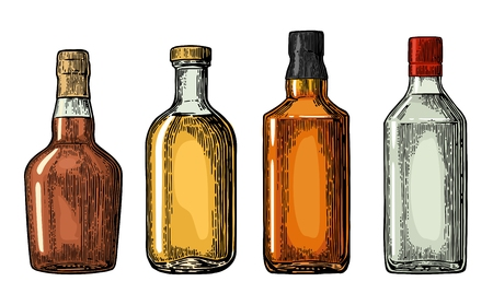 Set bottle for gin, rum, whiskey, tequila. Vector engraved illustration isolated on white vintage background. Vectores