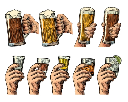 Male hand holding a glass with beer, tequila, vodka, rum, whiskey, gin. Vintage color vector engraving illustration for label, poster, invitation to party and birthday.
