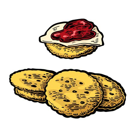 crackers: Crackers with butter and jam. Isolated on white background. Vector color vintage engraving illustration for menu Illustration