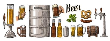 Bier set met twee handen die glazen beker en tap, kan, vaatje, worst, pretzel en de fles. Vintage kleur vector graveren illustratie voor web, poster, uitnodiging om te feesten. Geïsoleerd op een witte achtergrond.