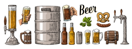 Beer set with two hands holding glasses mug and tap, can, keg, sausage, pretzel and bottle. Vintage color vector engraving illustration for web, poster, invitation to party. Isolated on white background.