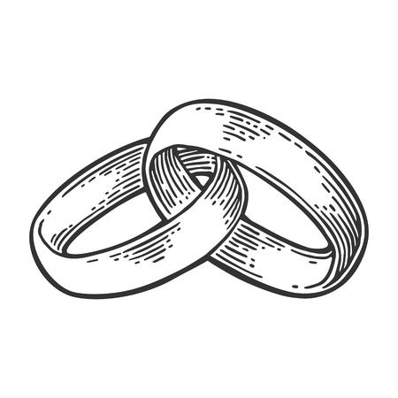 Goldene Hochzeit Ringe In Einer Grafischen Stil Vintage Schwarz