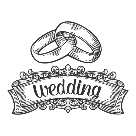 Wedding rings with lettering. graphic style. Vintage black engraving illustration for info graphic, poster, web. Isolated on white background Vettoriali