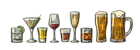 Set glass beer, whiskey, wine, gin, rum, tequila, cognac, champagne, cocktail. engraved vintage illustration isolated on white background.